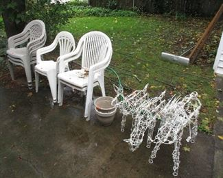 patio chairs and Christmas items