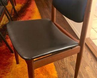 Six TEAK & LEATHER chairs by Finn Juhl