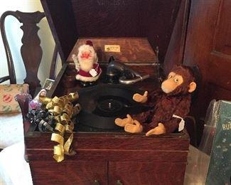 Antique Oak Tabletop Victrola. Antique Toy Monkey (Steiff ?) Antique Santa Candy Container.