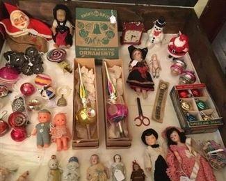 Assorted Vintage & Antique Dolls & Christmas Santa's & Ornaments.