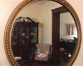 Antique Round Gilded Mirror.