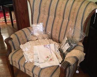 Vintage Side Chair. Antique & Vintage Linens & Lace.