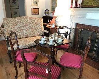 French Settee, Tea Table and Antique Chairs