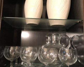Lenox vases and Tiffany Martini set with pitcher and stirrer