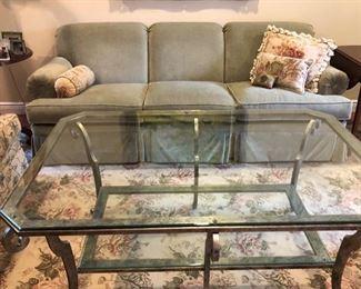 Brass & glass coffee table