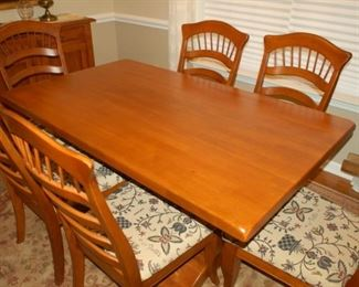 "Dining room table with 6 chairs, 42"" W x 48"" L x 31"" H"