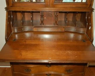 Secretary with top open - note mail slots, drawers