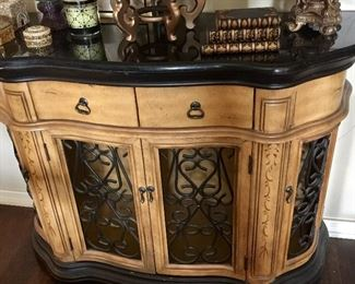 Wood/iron cabinet with stone top