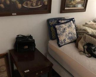 End table, vintage purses, art