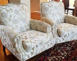 A. Rudin Nailhead Arm Chairs