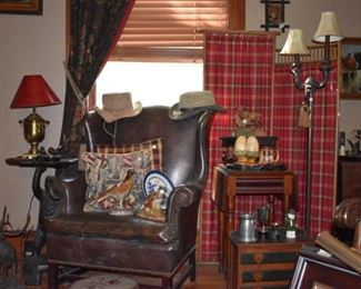 Oil paintings, screen, tramp art, needlepoint footstool, deer, moose (leather chair is a family piece)
