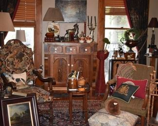Oil paintings, empire chest, needlepoint chair, needlepoint pillows, oriental rugs, foxhunting decor