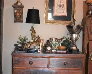 Vintage trophies, chest of drawers, foxhunting decor