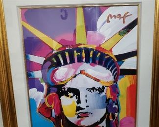 "Jumbo size (29.5""x24"") Lady Liberty mixed-media acrylic and color lithography on paper by famed contemporary artist Peter Max"