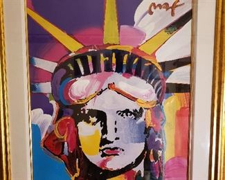 "Delta Liberty by Peter Max. Mixed media acrylic on color lithograph. 29 1/2"" x 24""."