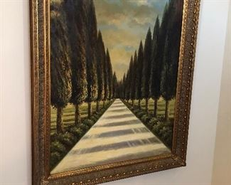 Large Painting of cypress trees