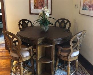 Gorgeous bar height game table and rug - art not for sale