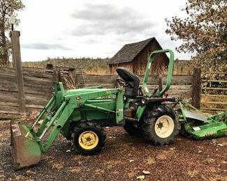 John Deere 755 4wd diesel tractor w/implements shown