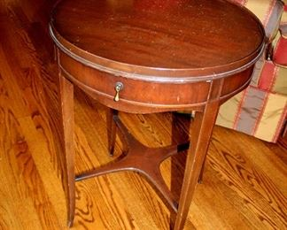 "ONLINE AUCTION ITEM #5 - Round end table - approximately 20"" diameter."