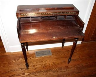"ONLINE AUCTION ITEM #7 - Antique fold-top writing desk - approximately 30"" long, 18"" wide, 32.5"" tall."