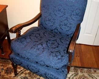 ONLINE AUCTION ITEM #8 - Blue upholstered armchair with wood arms / legs