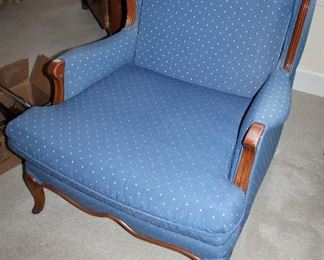ONLINE AUCTION ITEM #10 - French Provincial style blue upholstered armchair