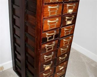"ONLINE AUCTION ITEM #17 - US Army wood file cabinet - approximately 19.5"" long, 25"" wide, 50.25"" tall."