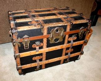 "ONLINE AUCTION ITEM #18 - Antique trunk - approximately 32"" long x 20"" wide x 23.25"" tall."