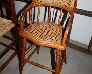 ONLINE AUCTION ITEM #19 - Antique cane seat high chair