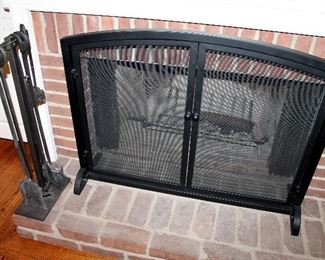 ONLINE AUCTION ITEM #23 - Iron fireplace screen, grate, and set of tools