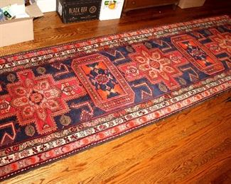 ONLINE AUCTION ITEM #26 - Red / blue Oriental runner - approximately 3.5 feet x 10.75 feet.