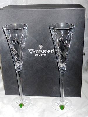 "ONLINE AUCTION ITEM #27 - Waterford Crystal ""Wishes / Believe"" champagne flutes - New In Box"