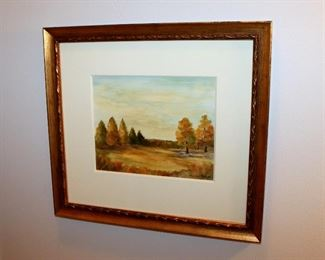"ONLINE AUCTION ITEM #32 - Mary Clapp original painting - approximately 16.5"" x 15"" including frame."