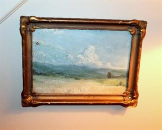 "ONLINE AUCTION ITEM #33 - Small antique original oil painting - approximately 11.5"" x 8.5"" including frame."