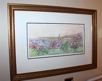"ONLINE AUCTION ITEM #34 - Original watercolor painting from Florence, Italy - approximately 24"" x 17"" including frame."