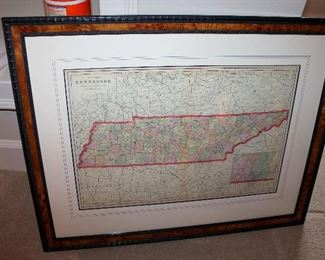 "ONLINE AUCTION ITEM #38 - 1908 Cram's Atlas map of Tennessee - approximately 30"" x 27"" including frame."