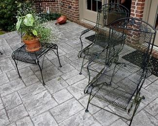 Outdoor iron chairs, small table