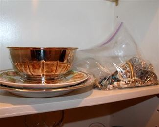 Costume jewelry, dishes