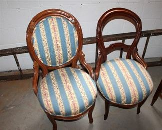 Antique chairs, wood ladder