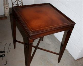 Leather top end table