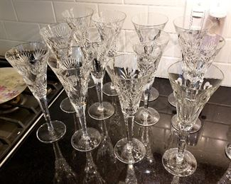 "ONLINE AUCTION ITEM #50 - Waterford ""Millennium"" champagne flutes - set of 12 - signed by Jim O'Leary and dated 1998."
