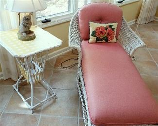 ONLINE AUCTION ITEM #53 - Wicker lounger, painted rustic table, and rabbit lamp