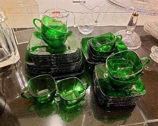 "Anchor Hocking ""Charm"" forest green dishes"