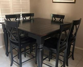 Pub Table w Hide-a-Way Extension and 6 Chairs