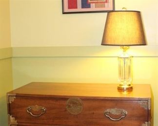 Henredon two drawer chest shown with Waterford lamp and beautiful framed needlepoint.