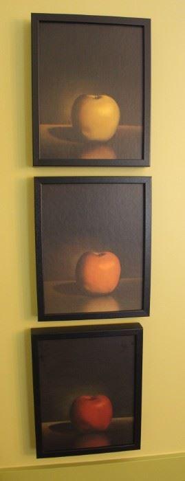 Trio of apple prints.