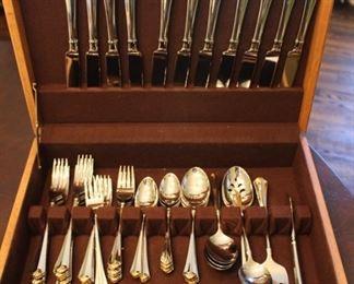 Oneida Golden Julliard Stainless Steel Flatware service for twelve.