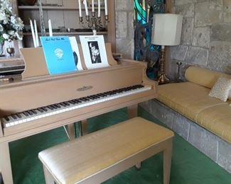 Chickering baby grand piano. Good condition. Serial #2093484.   $4,200.00 OBO considered on Sunday. Bench has silk upholstery.