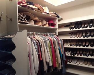 Hats of all types, including genuine leopard. Name brand shoes.
