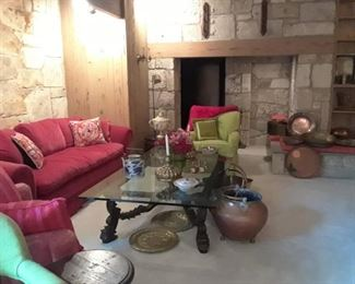 Opps - forgot this sofa - seven in all. Don't miss the downstairs. Copper, a table full of candlesticks and another full on pairs of lamps. Also stemware and fabulous exotic copper and brass accent pieces.